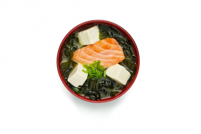 Miso soup with salmon and ginger.